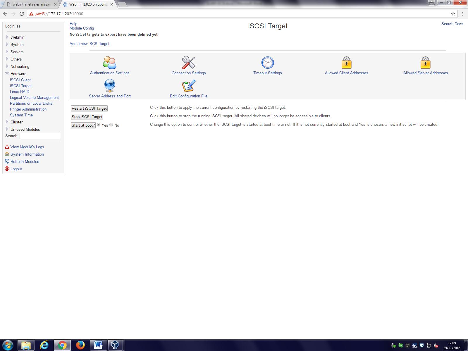 Taller Linux – iSCSI Server con Webmin en Ubuntu server 16 04